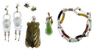 14k Gold, Nephrite Jade and Jadeite Jade Jewelry