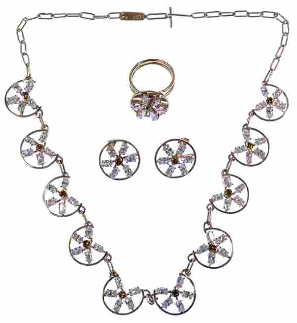 14k Gold, Tourmaline and Diamond Jewelry Suite