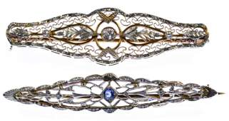 14k Two-Color Gold Art Deco Style Bar Pins