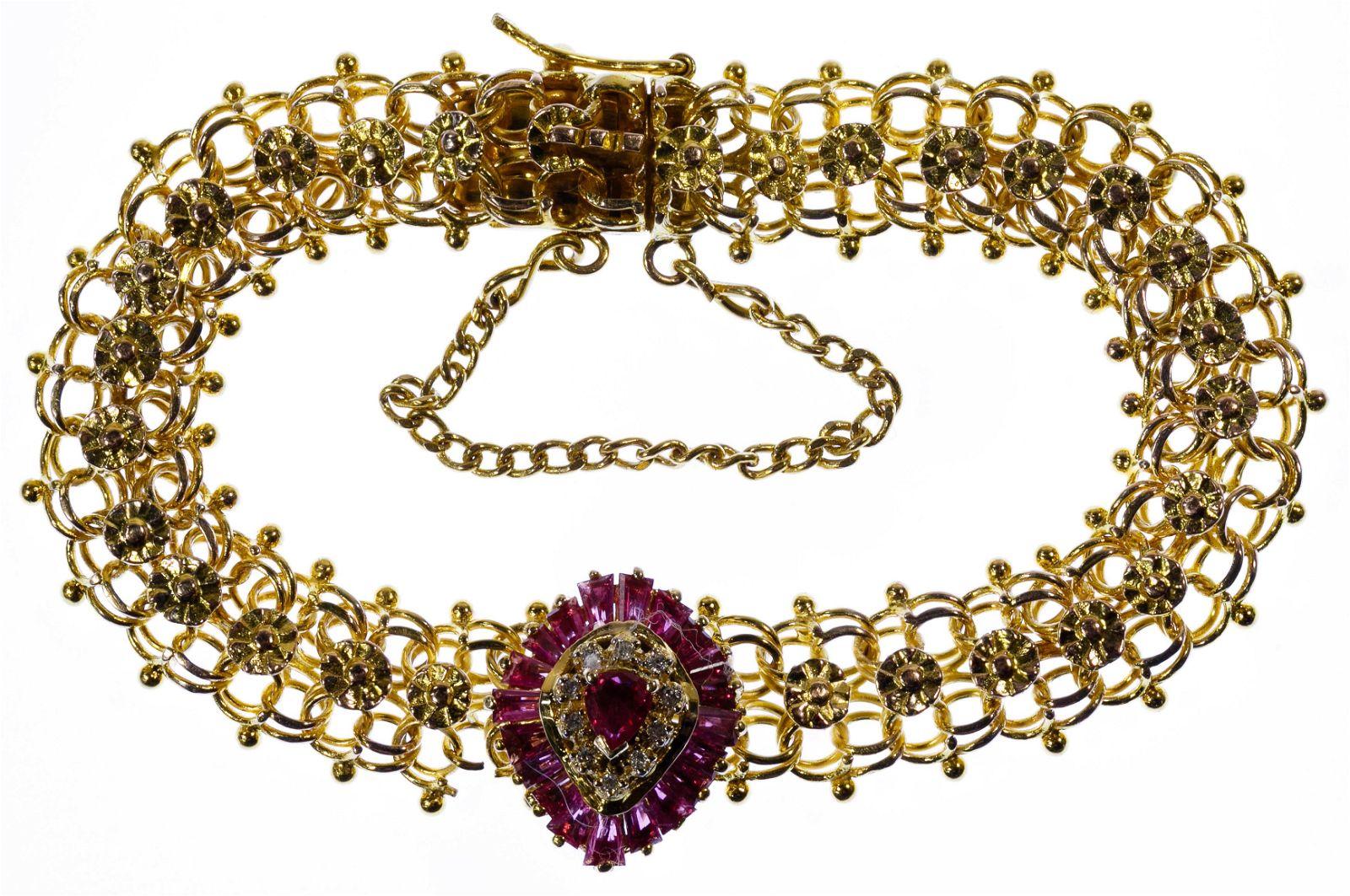 10k Gold, Ruby and Diamond Bracelet