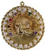 10k Gold, Semi-Precious Gemstone and Pearl Peacock