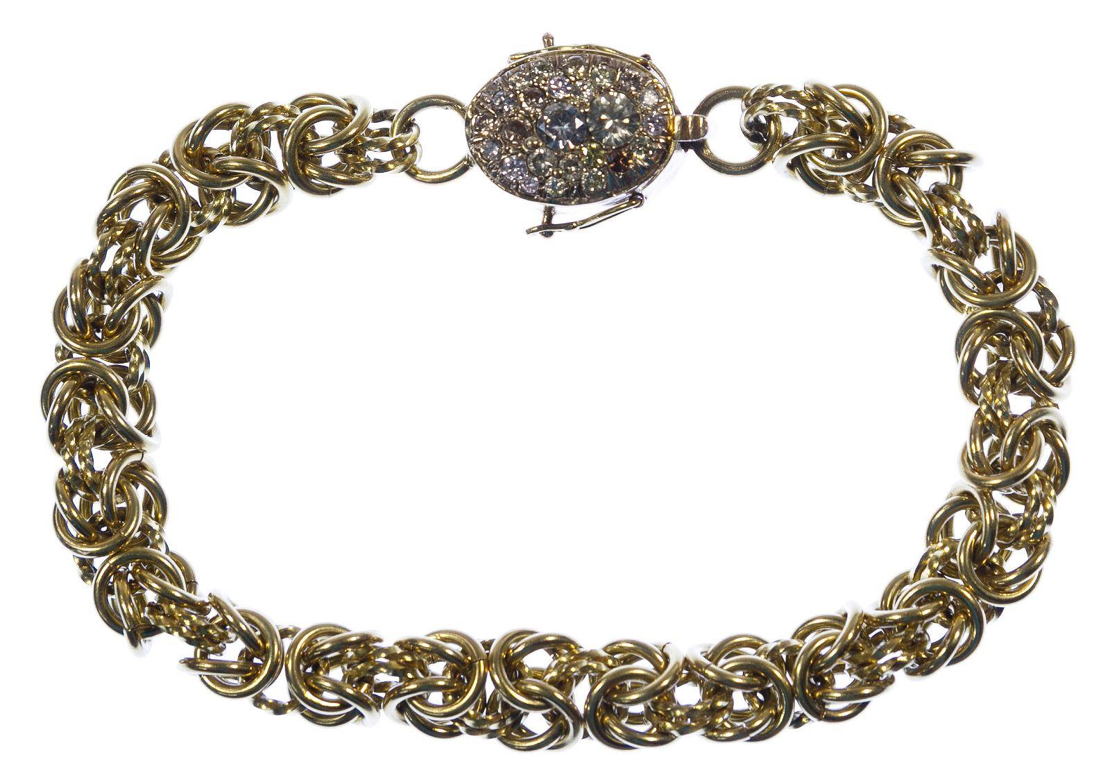 18k / 14k Gold and Gemstone Byzantine Link Bracelet