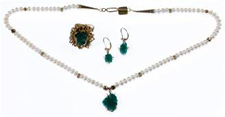 18k / 14k Gold, Emerald and Pearl Jewelry Suite