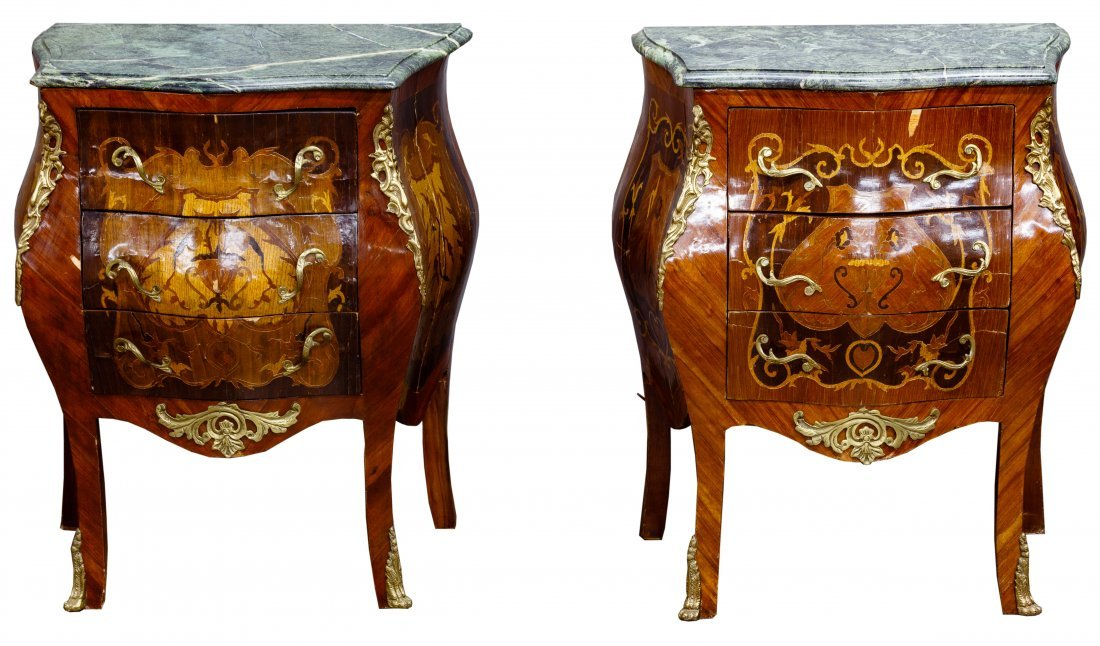Mahogany, Satinwood and Ormulu Marble Top Night Stands