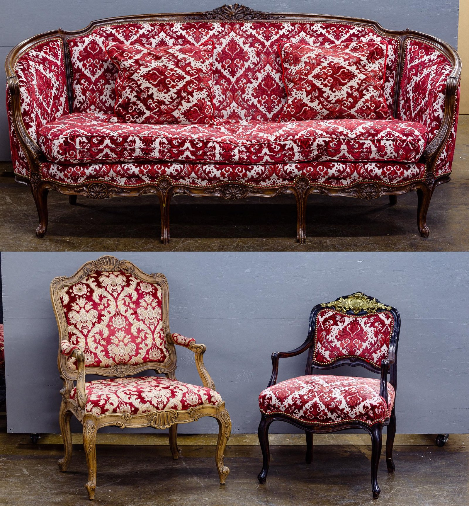 Victorian Style Sofa and Arm Chair Assortment