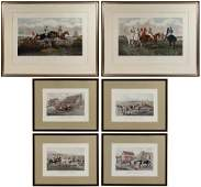 Hand-colored Equestrian Engraving Assortment