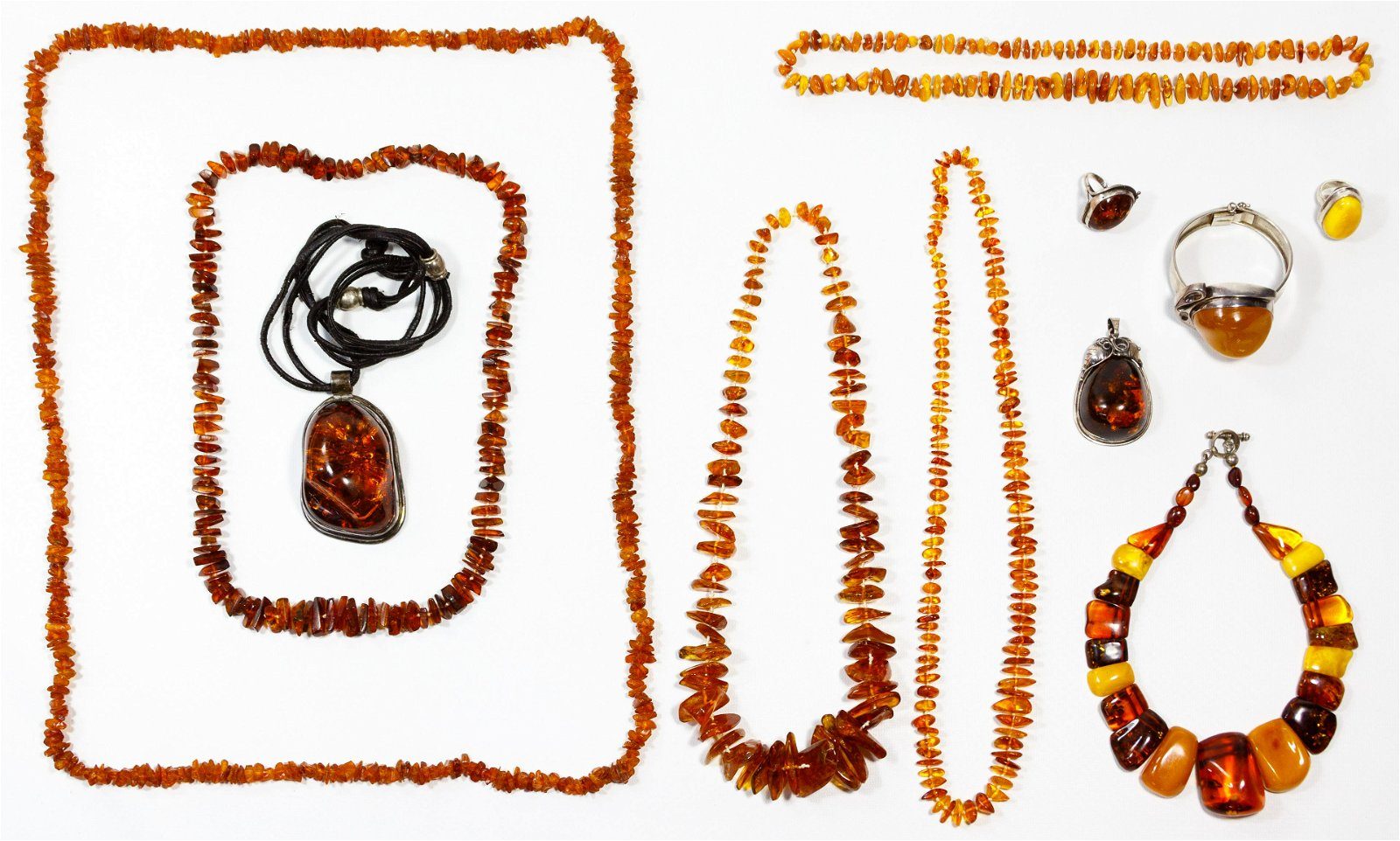Amber and Mixed Silver Jewelry Assortment