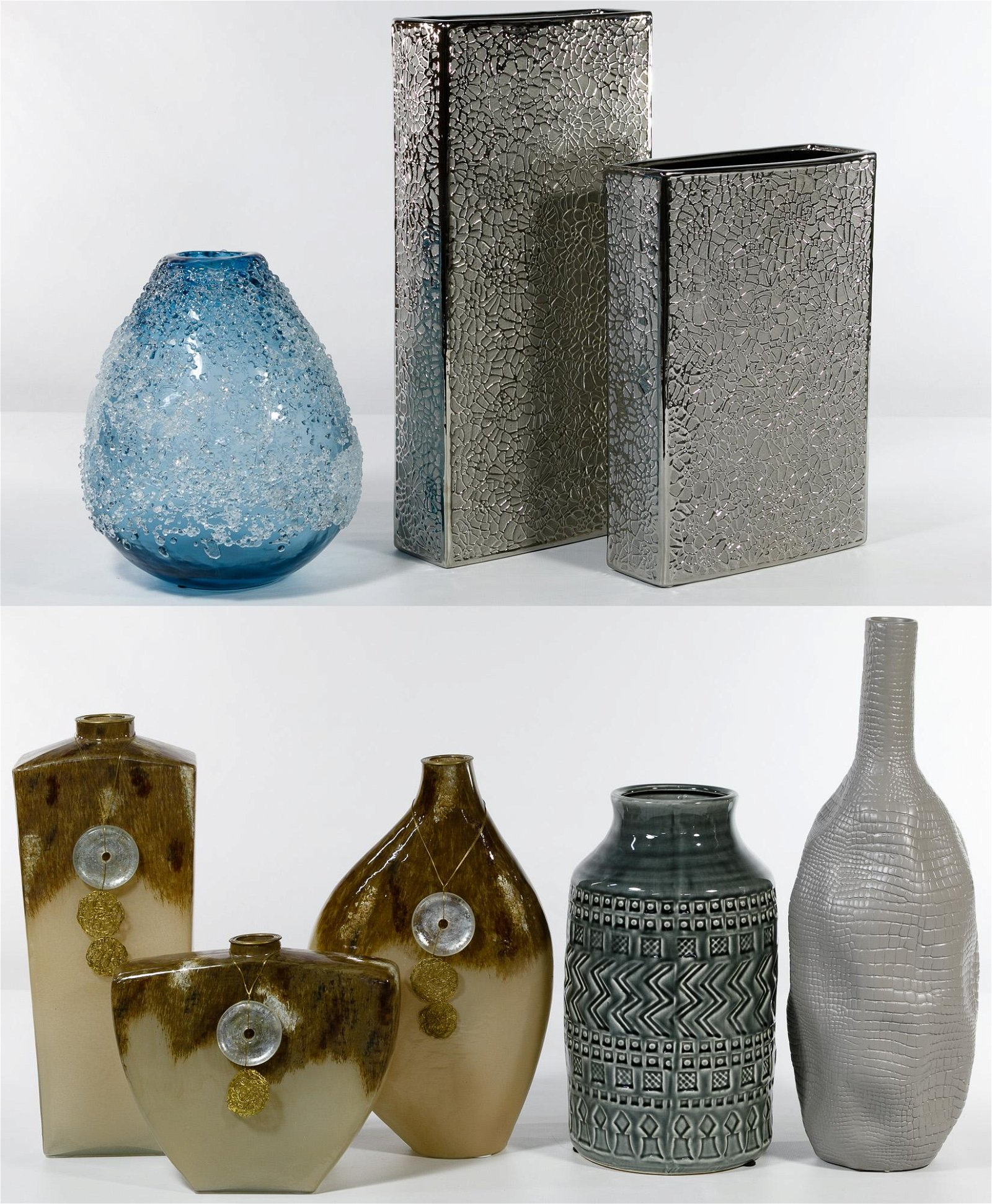 Glass and Pottery Vase Assortment