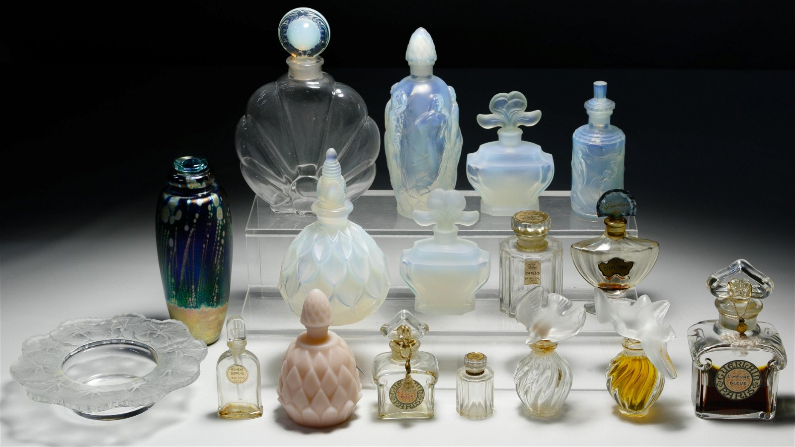 Lalique Crystal and French Perfume Bottle Assortment