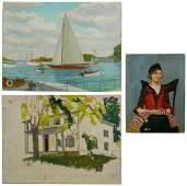 American Regionalist Oil on Canvas Board Assortment