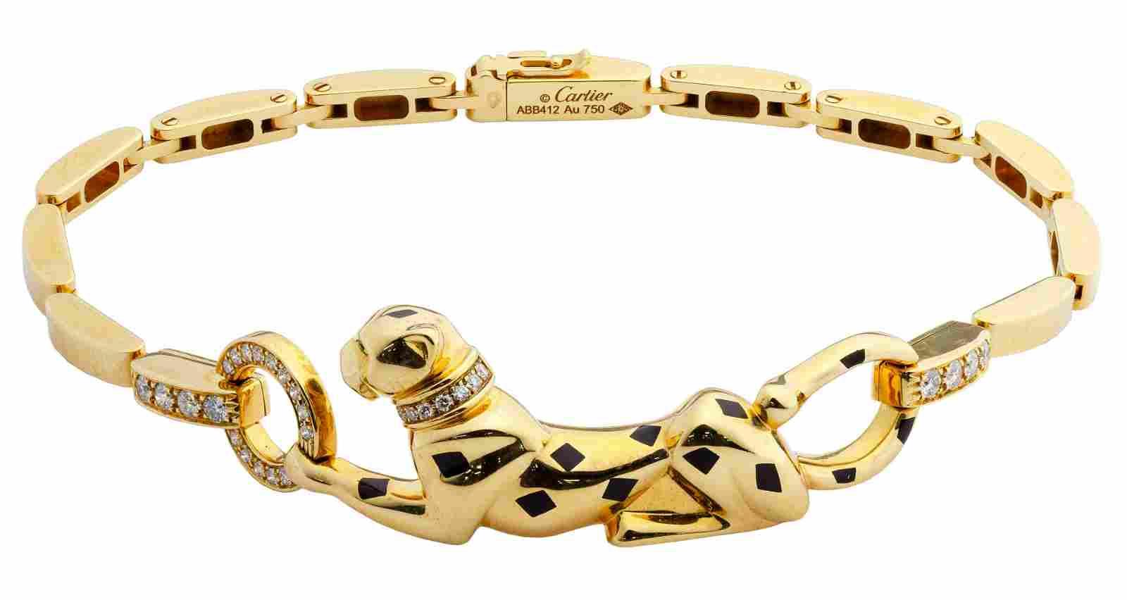 Cartier 18k Yellow Gold, Tsavorite Garnet, Onyx and