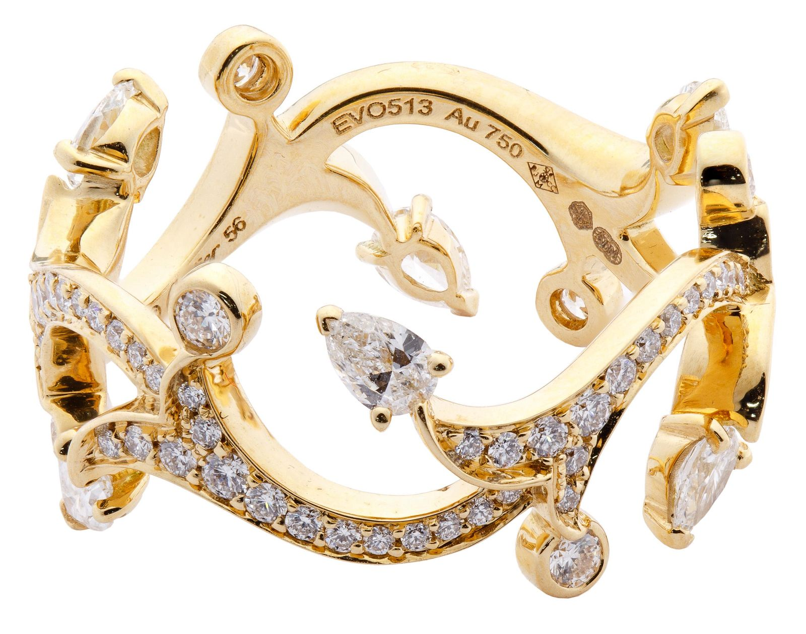 Cartier 18k Yellow Gold and Diamond Vine Ring