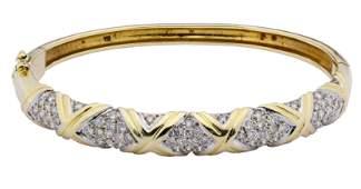 14k Gold and Diamond Hinged Bangle Bracelet