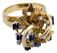 14k Gold, Sapphire and Diamond Ring