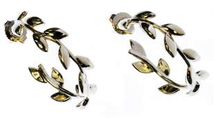Tiffany  Co 18k Gold Olive Leaf Hoop Earrings