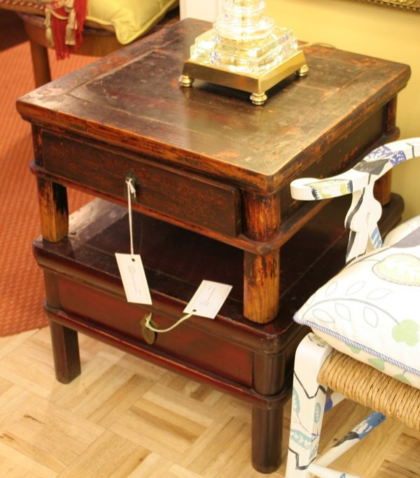 2: 2: Asian squared low tables with center drawers & br