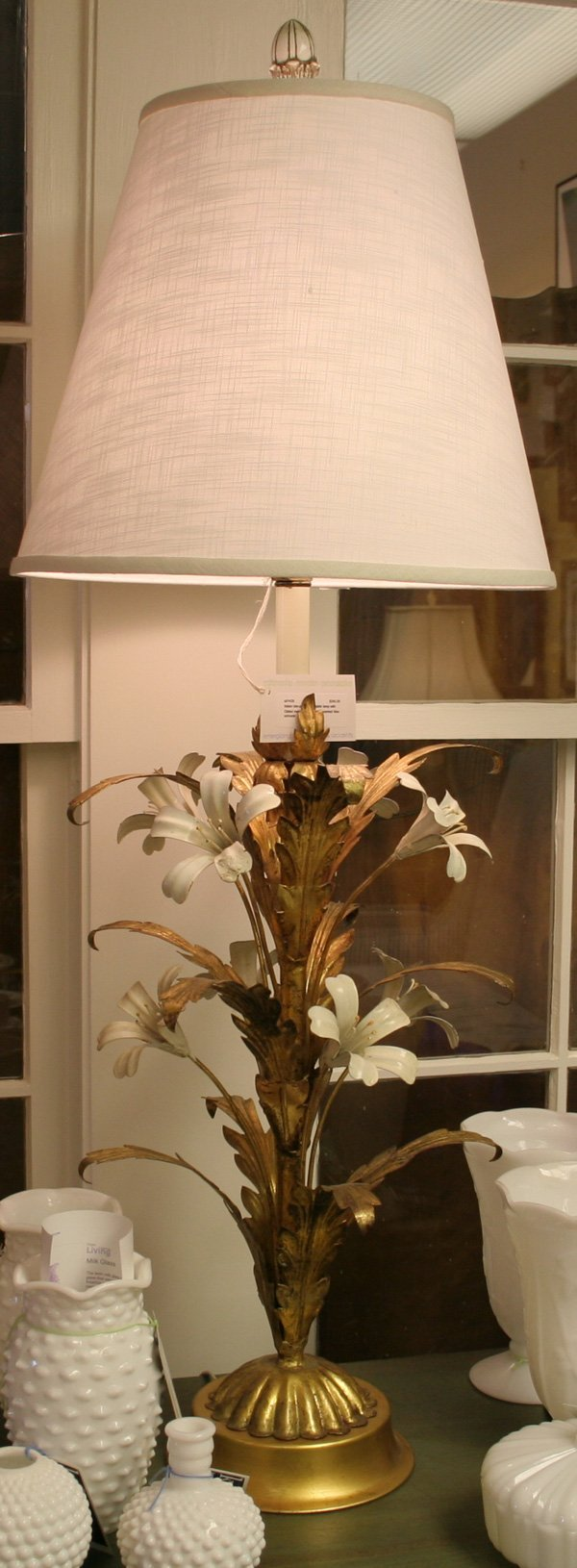 4: 4: Italian tole-painted Lily table lamp with Gilded