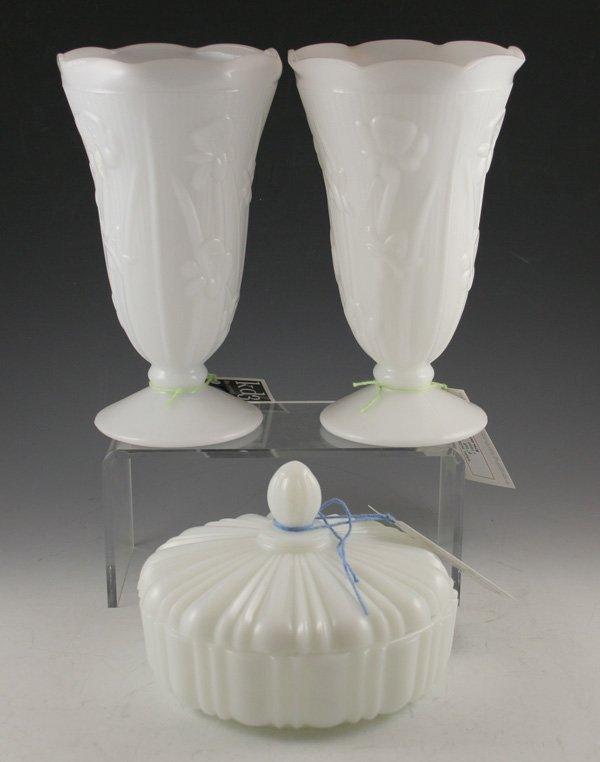 7: 7: Iris/herringbone milk glass footed vases & candy