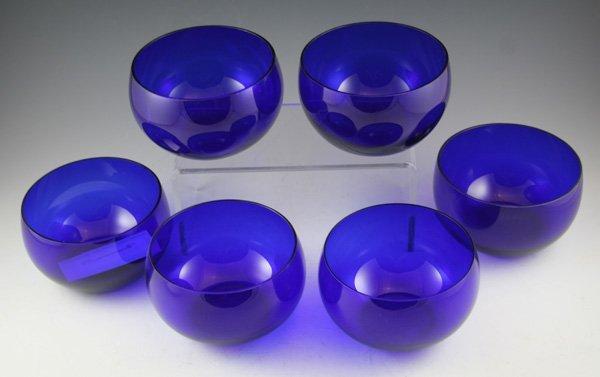 8: 8: Set of six cobalt blue glass bowls.