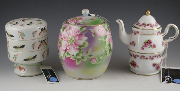 18: 18: Early Nippon style hand painted floral biscuit