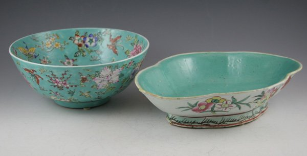 20: 20: Japanese mille fleur bowl. Turquoise background