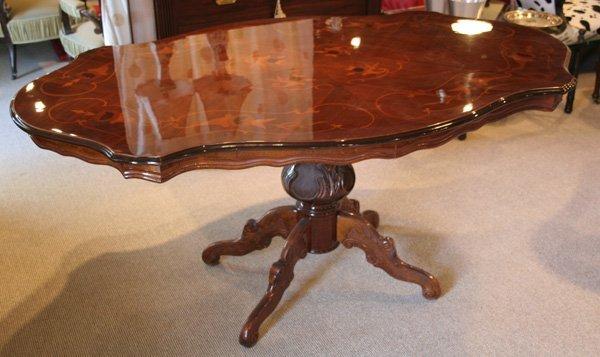 501: 501: Italian inlaid marquetry, walnut dining table