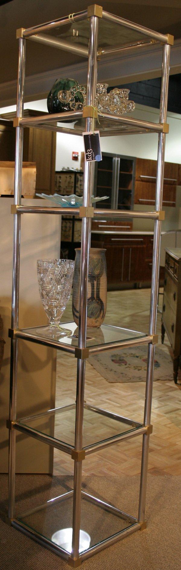 602: 602: Aluminum & Glass Etagere, with six glass shel