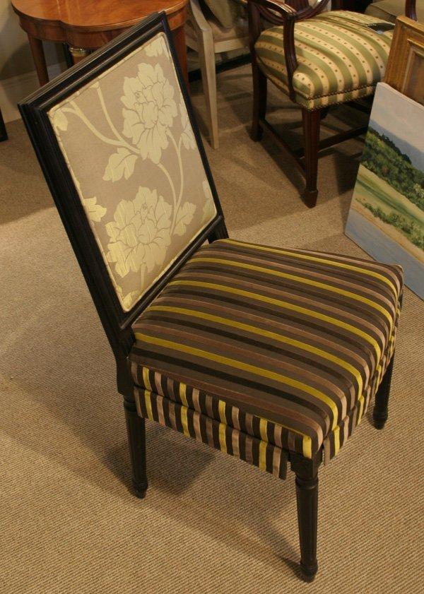 606: 606: French style carved ebonized beechwood uphols