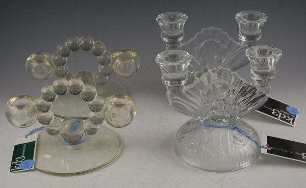 609: 609: Pair of Imperial Candlewick candleholders