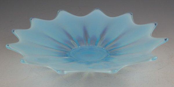 610: 610: Opalescent blue art glass petal form plate