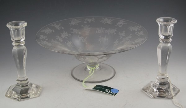 611: 611: Clear glass large footed compote w/etched flo