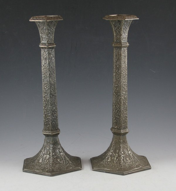 614: 614: Derby Co., Pair of American Silver repousse c