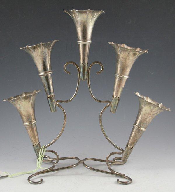 615: 615: English silverplate trumpet vase epergne