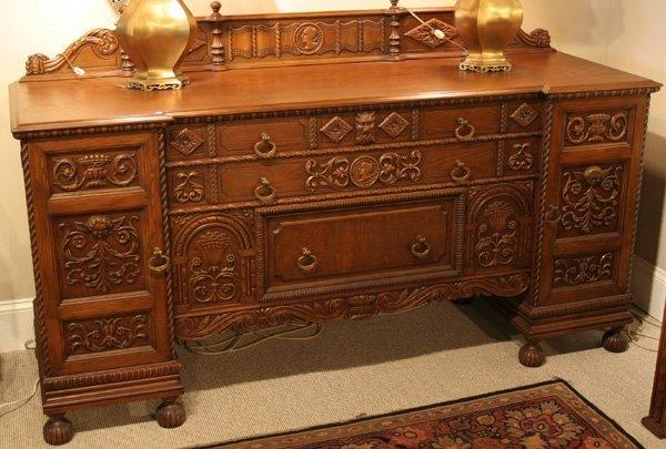 616: 616: Batesville carved oak sideboard. ca. 1910 - 1