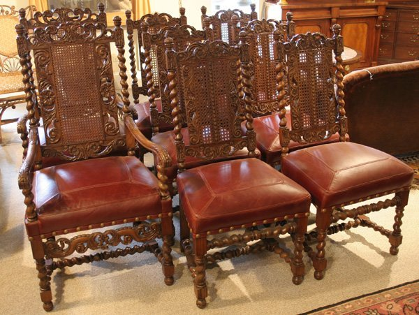 618: 618: Batesville carved oak dining chairs. ca. 1910