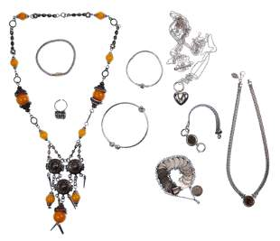 Designer Sterling Silver and Amber Jewelry Assortment