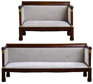 French Empire Mahogany Sofa and Settee
