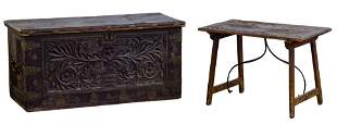 Italian Coffer and Oak Side Table