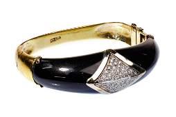 18k Yellow and White Gold, Onyx and Diamond Hinged