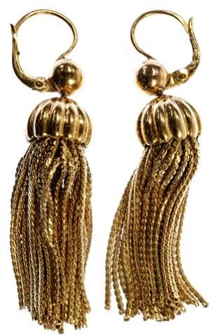18k Yellow Gold Tassel Pierced Earrings