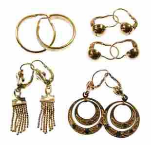 18k Yellow Gold Pierced Earring Assortment