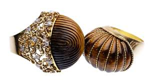 18k Yellow Gold and Tiger Eye Rings