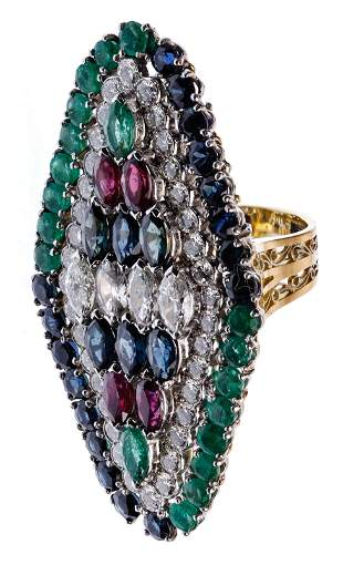 18k Yellow Gold, Emerald, Ruby, Sapphire and Diamond
