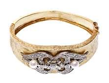 14k Yellow Gold Pearl and Diamond Hinged Bangle