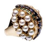 14k Yellow Gold Pearl Sapphire Emerald and Diamond
