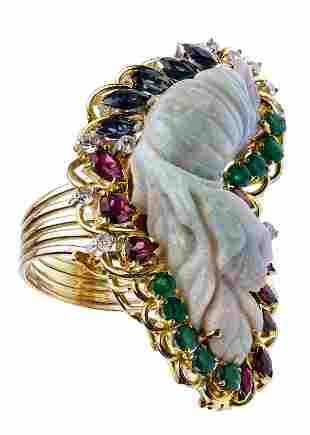 14k Gold, Carved Opal, Sapphire and Diamond Ring