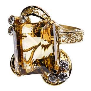 14k Yellow Gold, Citrine and Diamond Ring