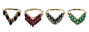 14k Yellow Gold and Semi-Precious Gemstone Ring