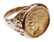 1915 $5 Gold Indian Coin in 14k Yellow Gold Ring