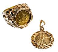 1989 $5 American Eagle Coin in 14k Gold Pendant